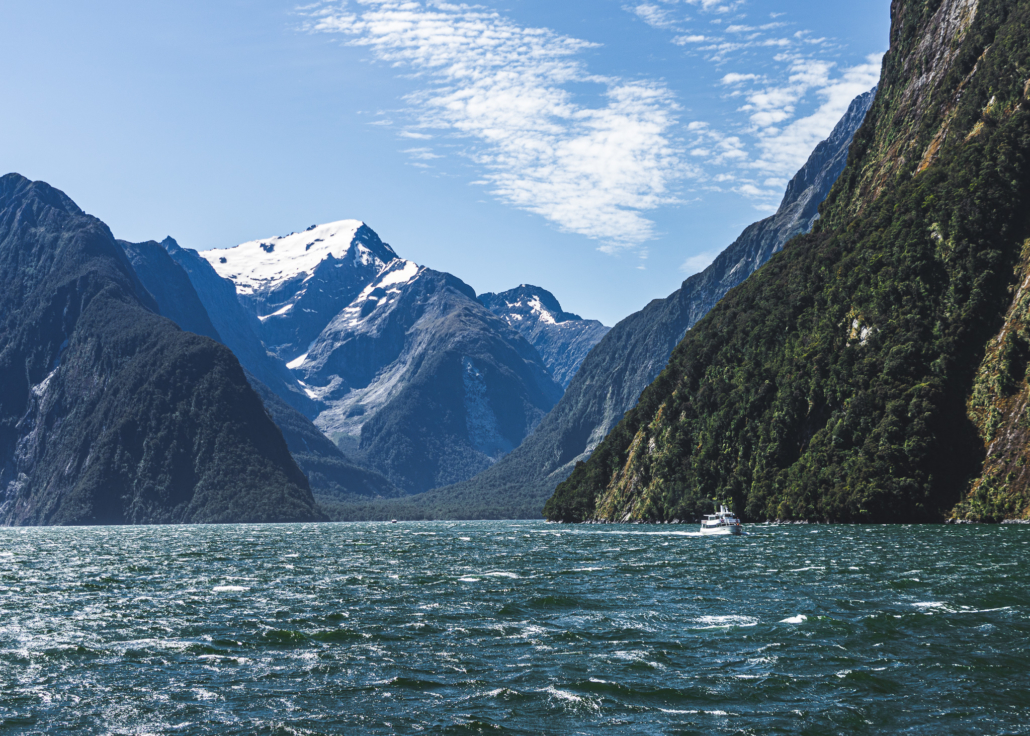 Milford Sound Mountain and Boat