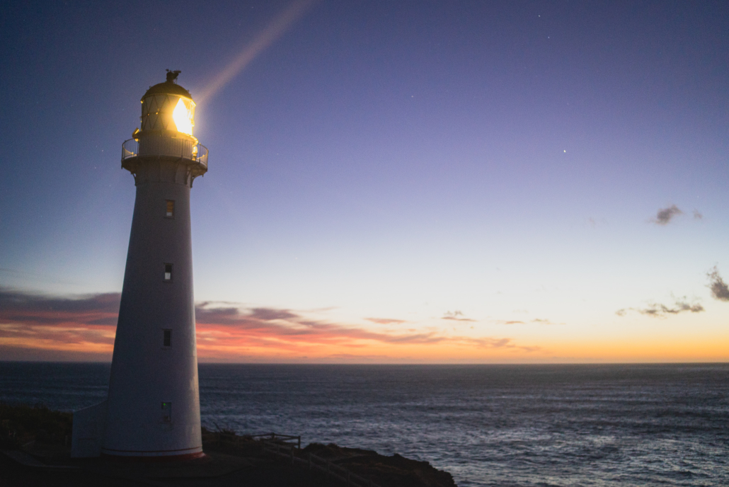 Lighthouse Sunset with Light